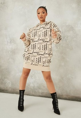 Missguided x Stone Repeat Print Oversized Hoodie Dress
