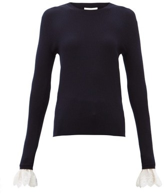 Chloé Fluted-cuff Ribbed-wool Sweater - Navy