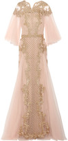 Marchesa Embellished Embroidered Tulle Gown - Pastel pink
