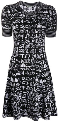 Kenzo Pre-Owned Intarsia Geometric Pattern Knitted Dress