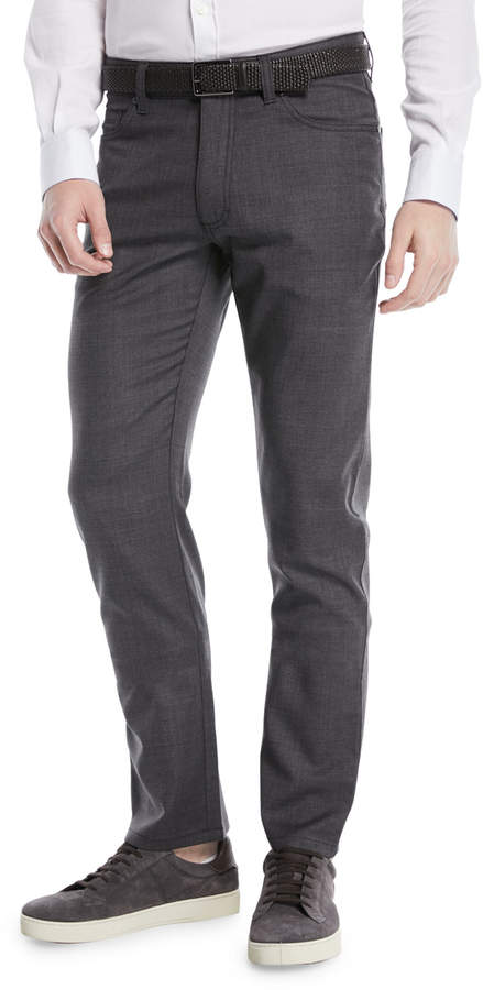 Ermenegildo Zegna Textured Wool-Blend 5-Pocket Pants