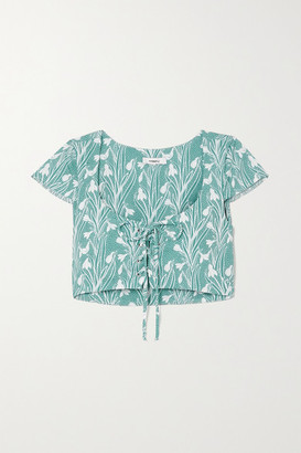 Miaou Arielle Cropped Lace-up Floral-print Stretch-crepe Top - Green