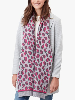 Joules Trissy Leopard Print Scarf, Grey/Pink