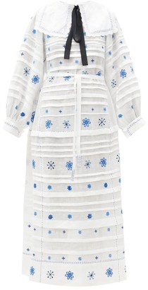 Vita Kin Constellation Embroidered Linen Midi Dress - Blue White