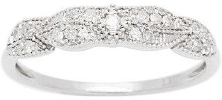Viducci 10k White Gold 1/6ct TDW Pave Diamond Vintage Style Ring