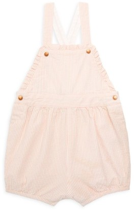Petit Bateau Baby Girl's Striped Seersucker Overalls