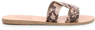 Ancient Greek Sandals Desmos Flat Snakeskin-Embossed Leather Sandals