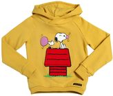Finger In The Nose Hooded Snoopy Printed Cotton Sweatshirt