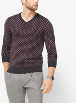 Michael Kors Diamond-Print Merino Wool V-Neck Sweater