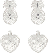 Accessorize Sterling Silver 2x Mixed Fruits Stud Earrings Set