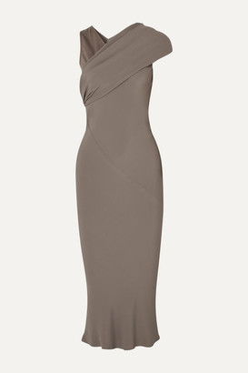 Rick Owens Asymmetric Draped Crepe And Cotton-jersey Midi Dress - Light gray