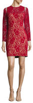 Tadashi Shoji Floral Mesh-Accented Sheath Dress