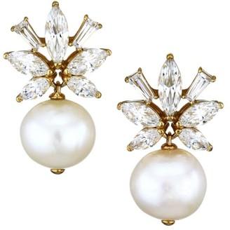 Adriana Orsini 18K Goldplated, 10-11MM Pearl & Cubic Zirconia Flower Drop Earrings