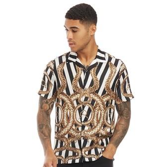 Hermano HERMANO Mens Snake Print Cuban Short Sleeve Shirt Black/White