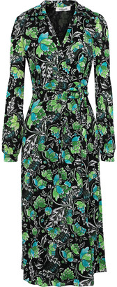 Diane von Furstenberg Phoenix Printed Mesh Midi Wrap Dress