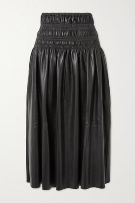 Self-Portrait Shirred Faux Leather Midi Skirt - Black