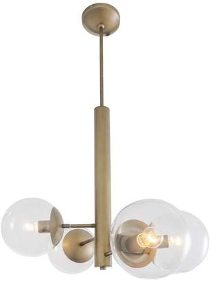 clear Rogue Decor Company Mid-Century 4-Light Chandelier, Antique Brass with Glass