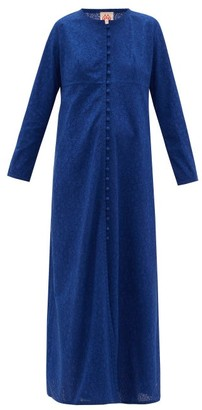 Le Sirenuse Positano Le Sirenuse, Positano - Cappa Cotton Broderie Anglaise Maxi Dress - Blue