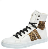 Thumbnail for your product : Amiri White/Brown Leather and Leopard Print Calfhair Sunset High Top Sneakers Size 42