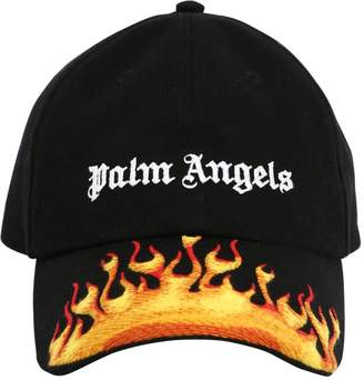 Palm Angels BURNING LOGO COTTON CANVAS CAP