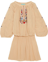Melissa Odabash Nadja Embroidered Voile Mini Dress - Beige