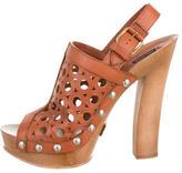 Marc Jacobs Leather Peep-Toe Booties