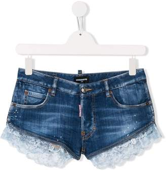 DSQUARED2 TEEN lace trimmed denim shorts