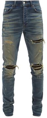 Amiri Mx1 Suede-insert Distressed Skinny-leg Jeans - Mens - Blue
