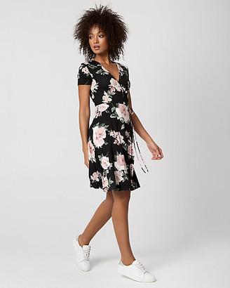 Le Château Floral Print Jersey Knit Wrap-Like Dress