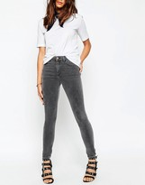 Asos Ridley High Waist Skinny Jeans in Slated Gray