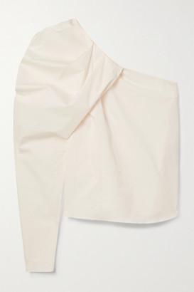 Johanna Ortiz Forgotten Promises Convertible One-shoulder Draped Cotton-blend Poplin Top - Ecru