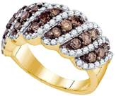 Diamond & CO 10kt Yellow Gold Womens Round Cognac- Colored Diamond Striped Fashion Band Ring 1 & 1/2 Cttw