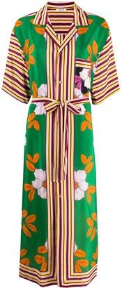 P.A.R.O.S.H. Silk Floral Print Shirt Dress