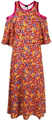 Marni Floral-Print Cold-Shoulder Dress