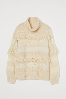 H&M Mixed-knit Turtleneck Sweater - White