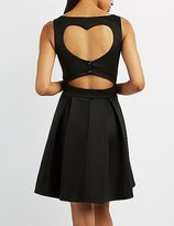 Charlotte Russe Heart Cut-Out Skater Dress