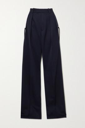 J.W.Anderson Pleated Grain De Poudre Wool Wide-leg Pants - Navy