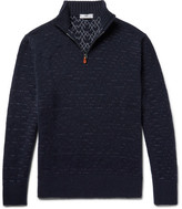 Inis Meáin - Birdseye Slim-fit Merino Wool And Linen-blend Half-zip Sweater - Midnight blue