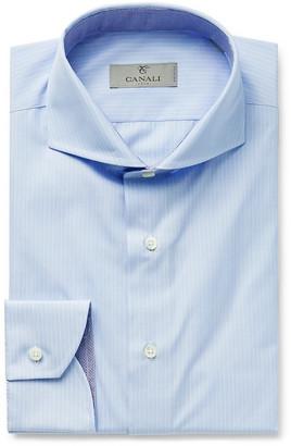 Canali Light-Blue Cutaway-Collar Striped Cotton Shirt