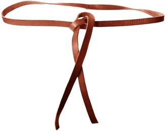 Forte Forte Narrow Leather Lace Belt in Papaya