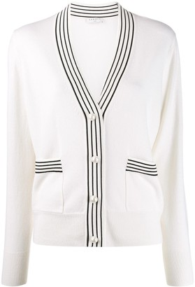Sandro Paris stripe trim long sleeve cardigan