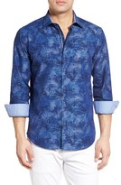 Bugatchi Men's Classic Fit Floral Chambray Sport Shirt
