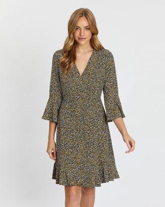 Wallis Ditsy Flute Sleeve Dress