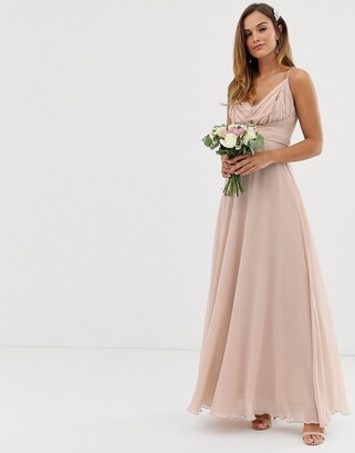 Asos Design DESIGN Bridesmaid cami wrap tie waist maxi dress with layered skirt-Pink