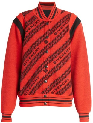 Givenchy Logo Chain Knit Wool Varsity Jacket