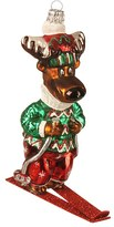 Nordstrom Skiing Moose Glass Ornament