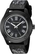 Vince Camuto Women's VC/5259BKBK Swarovski Crystal Fabric and Silicone Strap Watch