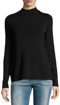 Marled by Reunited Clothing Mock-Neck Ribbed Sweater, Black