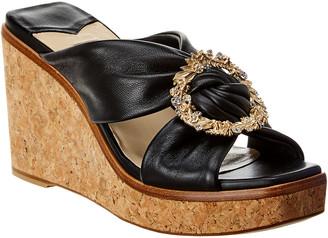 Jimmy Choo Nevara 90 Leather Wedge Sandal