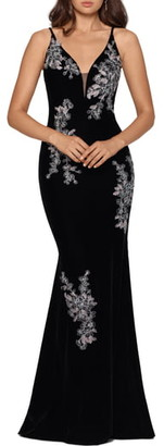 Xscape Evenings Embroidered Velvet Trumpet Gown